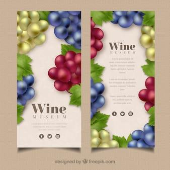 Selectie van banners met druiven in verschillende kleuren