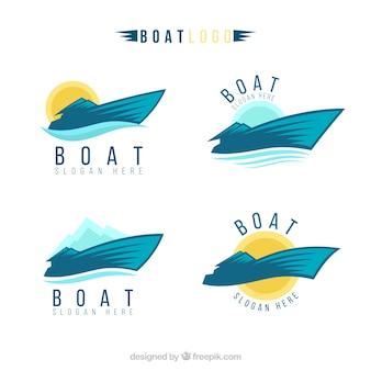 Selectie van bootlogo's in abstracte stijl