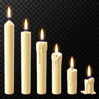 Selectie van brandende kaarsen