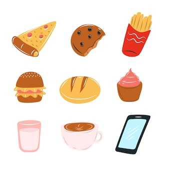 Selectie van brood doodle stijl