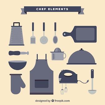 Selectie van chef-kokelementen in grijze tinten