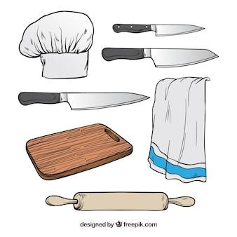 Selectie van chef-kokelementen in handgetekende stijl