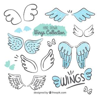 Selectie van decoratieve vleugels met blauwe details
