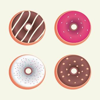 Selectie van donutsmaak vectorillustratie