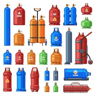 Selectie van gasflessen