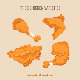 Selectie van gebakken kip