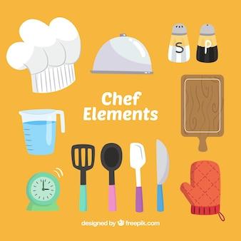 Selectie van gekleurde chef-kokobjecten in handgetekend ontwerp
