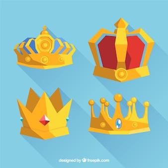 Selectie van gouden kronen in plat design