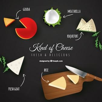 Selectie van kaas in realistische stijl