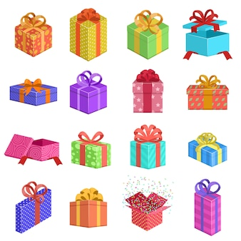 Selectie van kleurrijke geschenkdozen