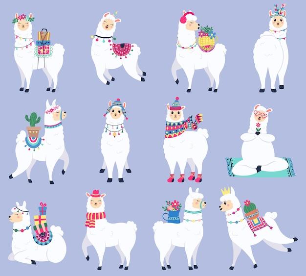 Selectie van kleurrijke lama's