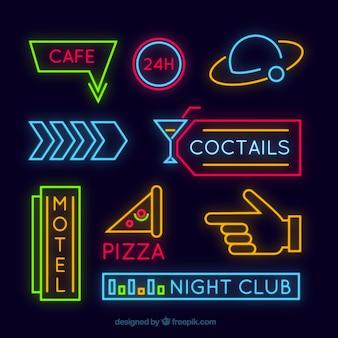 Selectie van minimalistische neonreclames
