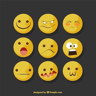Selectie van negen expressieve emojis