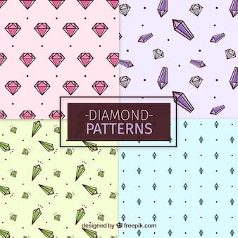 Selectie van patronen met edelstenen in plat ontwerp