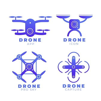 Selectie van plat drone-logo