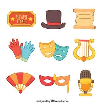 Selectie van platte kleurrijke theater elementen