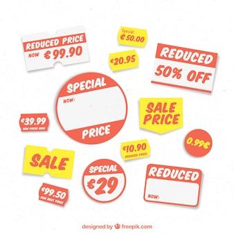 Selectie van prijsetiketten voor een winkel