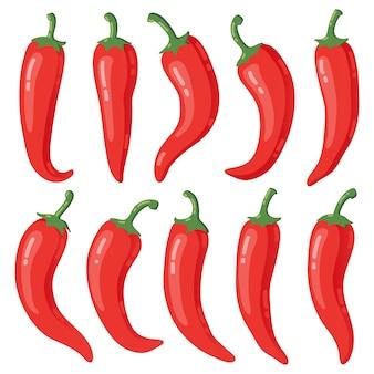 Selectie van rode chilipepers
