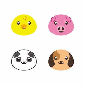Selectie van schattig dier rond karakter voor sticker