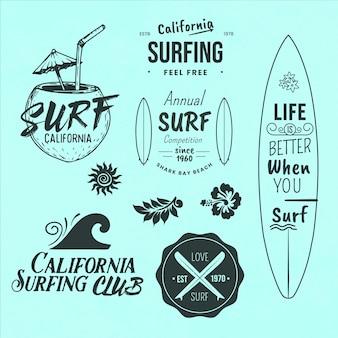 Selectie van surf thema-badges