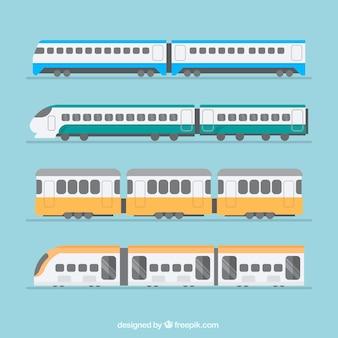 Selectie van treinen in platte ontwerp