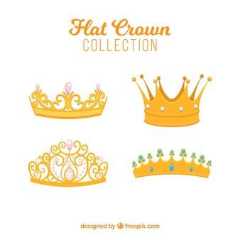 Selectie van vier platte kronen met decoratieve edelstenen
