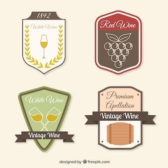 Selectie van vier vintage wijnstickers