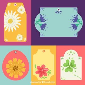 Selectie van vijf bloemenstickers met grote ontwerpen