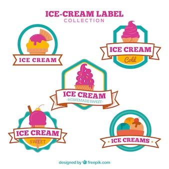 Selectie van vijf decoratieve stickers met platte ijsjes