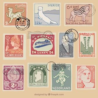 Selectie van vintage postzegels