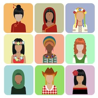 Selectie van vrouwen in traditionele kleding
