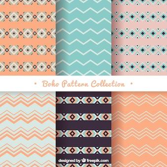 Selectie van zes boho patronen met geometrische vormen
