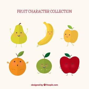 Selectie van zes expressieve fruitkarakters