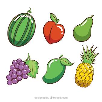 Selectie van zes gekleurde vruchten