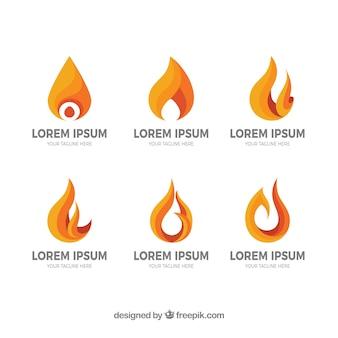 Selectie van zes logo's met vlammen in oranje tinten