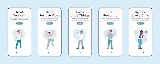Self care onboarding mobiele app platte schermsjabloon. verheug je als een kind. doorloop website-stappen met tekens. ux, ui, gui cartoon-interface voor smartphones, set hoesjes