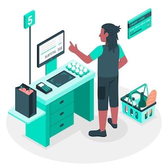 Self checkout concept illustratie