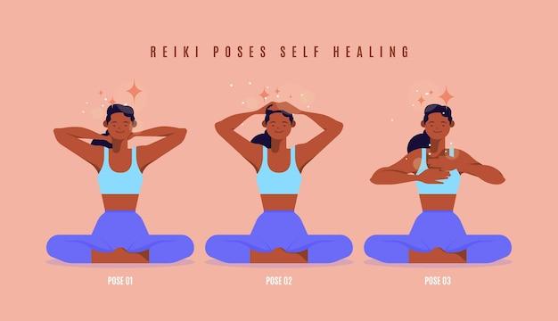 Self-healing reiki-houdingen geïllustreerd