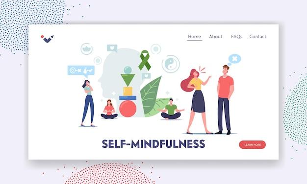 Self-mindfulness, controle bestemmingspagina sjabloon. personages houden mentaal evenwicht vermijd agressie en stressvolle reacties. mensen zitten in lotushouding, mediteren en voelen zich kalm. cartoon vectorillustratie