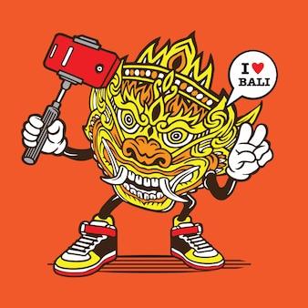 Selfie barong masker bali karakter