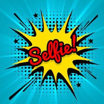 Selfie comic cartoon blauwe achtergrond