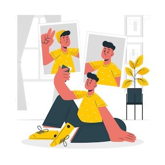 Selfie concept illustratie