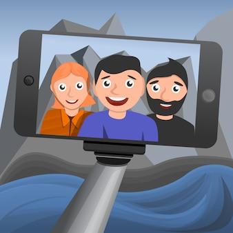 Selfie-conceptenachtergrond, beeldverhaalstijl