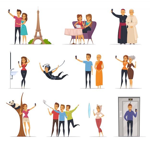 Selfie en mensenpictogrammen met de vlakke geïsoleerde vectorillustratie die van reissymbolen worden geplaatst