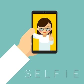 Selfie. fotoportret, foto en smartphone, hand en vrouwengezicht.