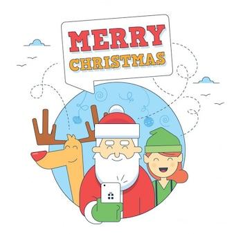 Selfie illustraties met kerstman elf en herten