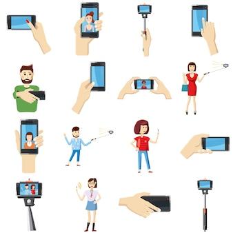 Selfie pictogrammen instellen, cartoon stijl