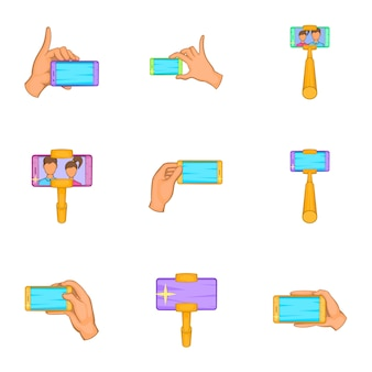 Selfie set, cartoon stijl