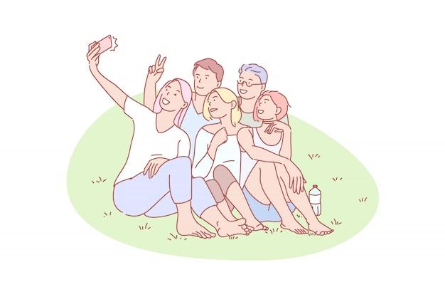 Selfie, vriend, verzamelen, vreugde, rust, illustratie
