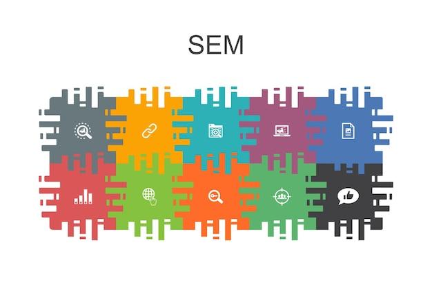 Sem cartoon sjabloon met platte elementen. bevat pictogrammen zoals zoekmachine, digitale marketing, inhoud, internet